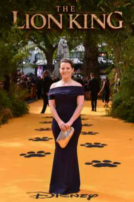 "Karen Gilchrist attends the European Premiere of Disney's ""The Lion King"" at the Odeon Leicester Square on 14th July 2019 in London, UK"