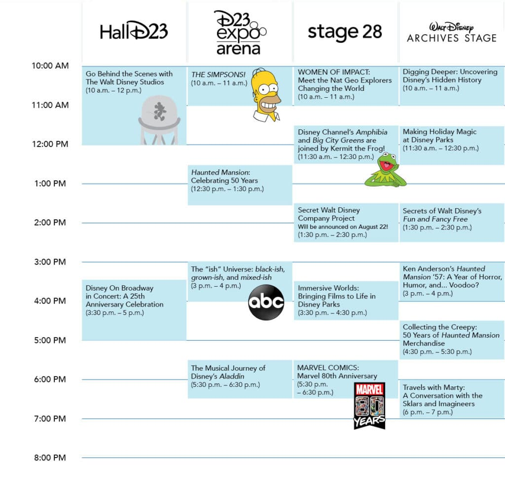 Saturday D23 Expo 2019 Schedule