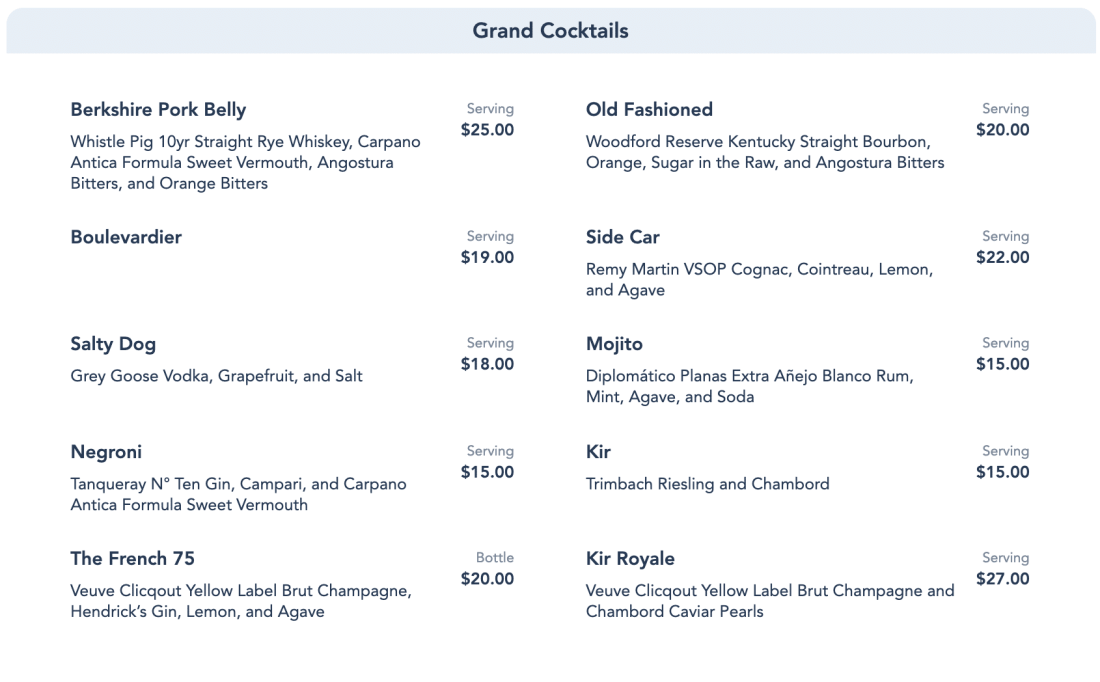 Enchanted Rose Menu - Grand Cocktails