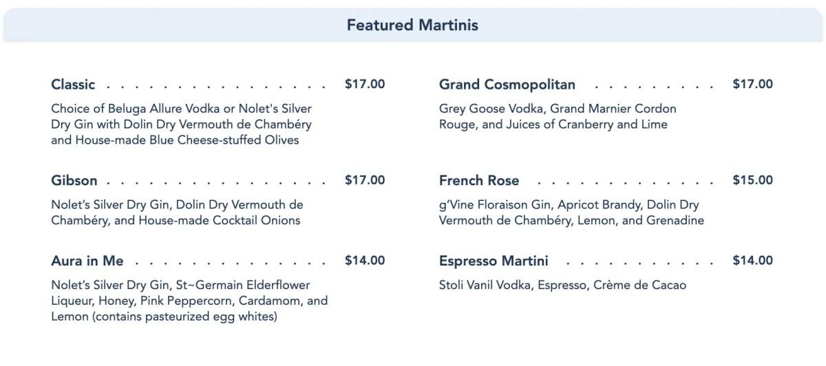 Enchanted Rose Menu - Featured Martinis