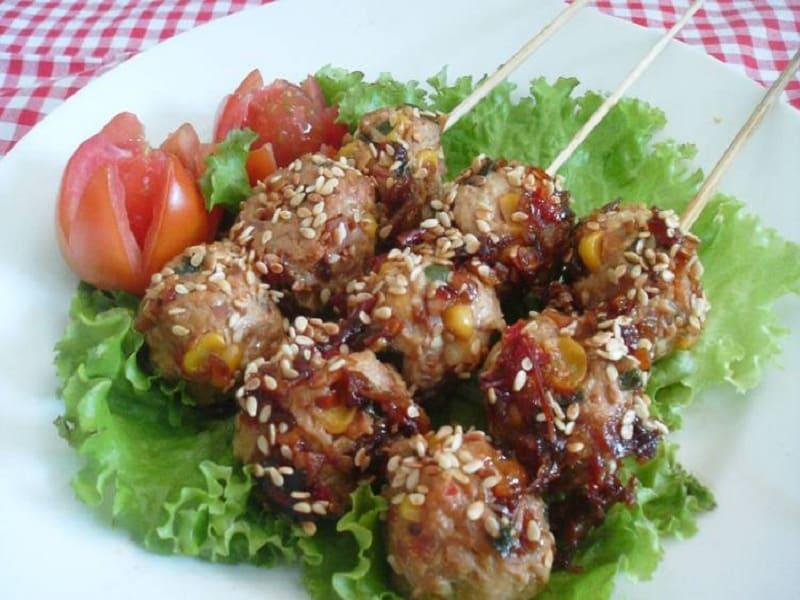 Sate Tempe Ayam dan Sayuran