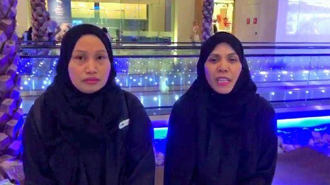 Kedua TKI yang lolos dari hukuman mati di Arab Saudi, Sumartini dan Warnah. (Dok. KBRI Arab Saudi/cnn)
