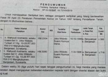 Pengumuman sertifikat Jokowi yang hilang di media massa lokal. (Foto: detikcom)