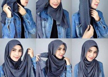 Tutorial cara memakai hijab pashmina © Hijabgamismukena.wordpress.com/merdeka.com