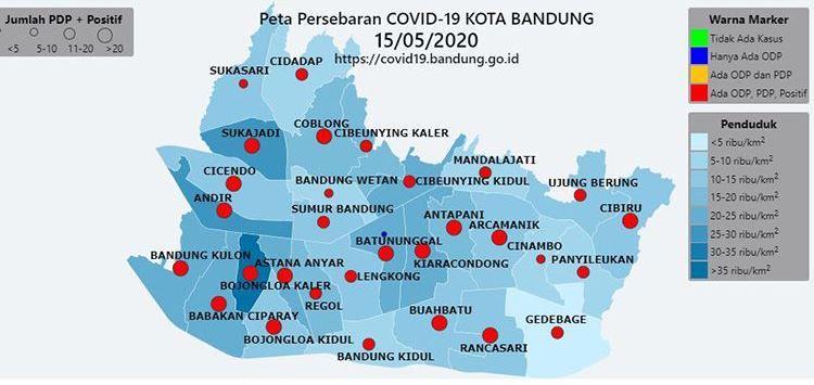 Peta penyebaran virus corona di Kota Bandung, Jawa Barat (Foto : Dok/pemkot Bandung)