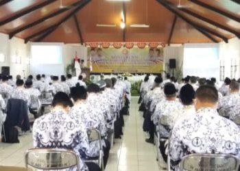 Konferensi PGRI Kabupaten Bandung masa bakti XXII tahun 2020-2025 di Gedung PGRI, Katapang, Kabupaten Bandung, Jawa Barat, Senin (31/8/2020). (Foto: Istimewa)
