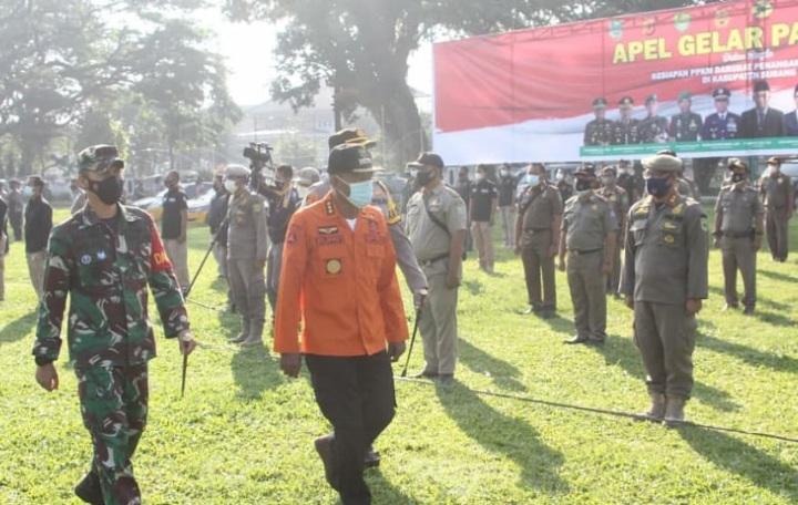 Bupati Subang, H Ruhimat saat apel siaga jelang permbelakuan PPKM Darurat (Foto: Istimewa)