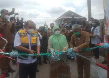 Jembatan gantung Babatan Kecamatan Pedamaran diresmikan Bupati OKI, H. Iskandar, SE (Foto: Istimewa)