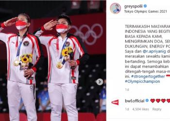 Pasangan ganda putri Greysia Polii dan Apriyani Rahayu, yang sukses meraih medali emas bulutangkis di Olimpiade Tokyo 2020. (Foto: Instagram @greyspolii).