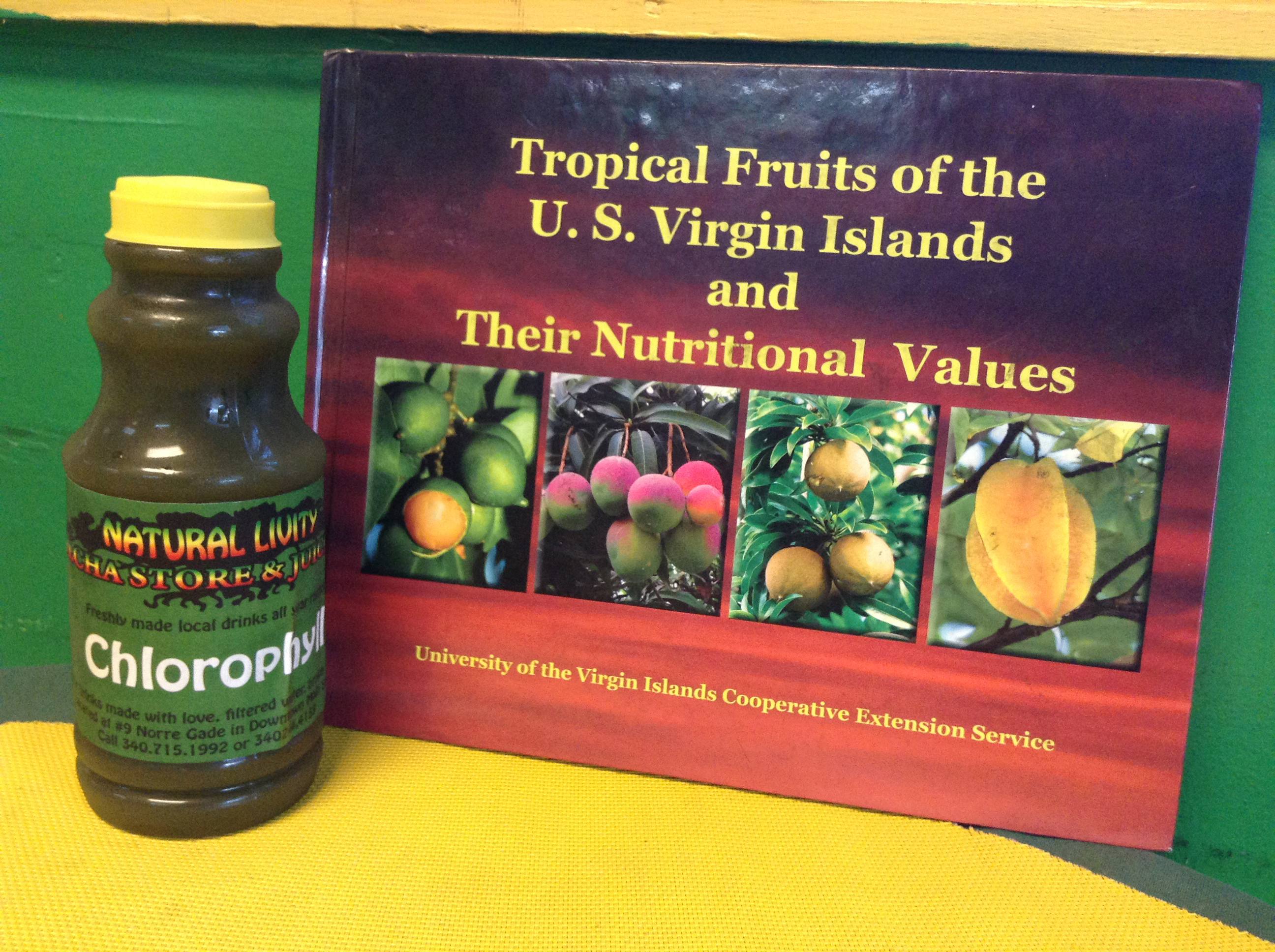 Chlorophyll made in the Virgin Islands as sold at the Natural Livity Kulcha Shop and Juice Bar