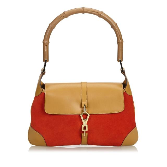 Gucci-Red-Tan-Suede-Leather-Bag
