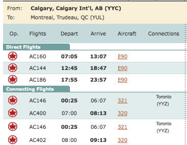 Air Canada Aircraft Types
