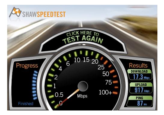 Shaw Internet Speed Test