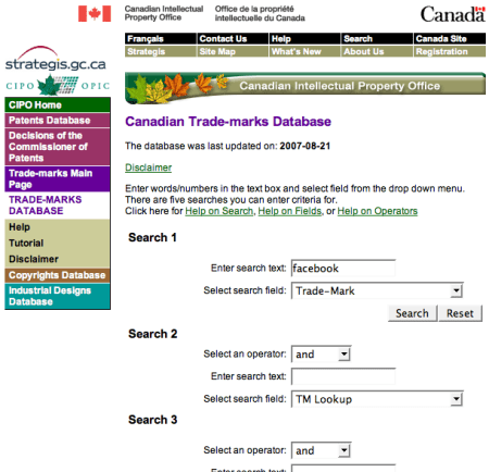 Searching For Facebook in the Canadian Registry