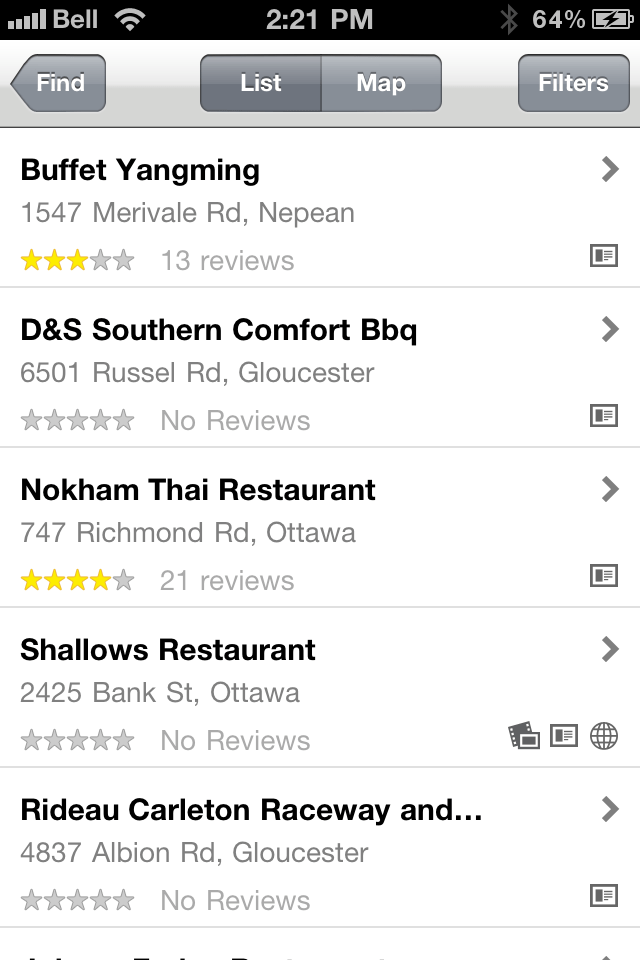 YellowPages.ca iPhone Application 2011 Search Results Page
