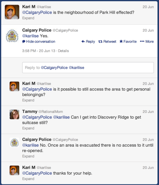 Screenshot of communication between Calgary police and residents regarding the #yycflood flood