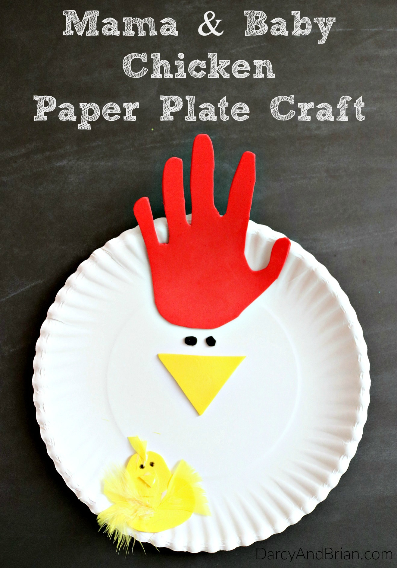 Hand Tracing Chicken Paper Plate Craft