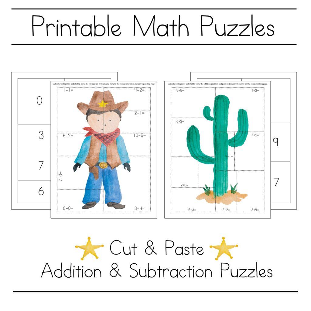 Cowboy Math Picture Puzzle Printables