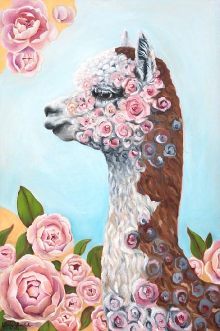 "Rosie the Alpaca Oil on Canvas 24 x 36"" 2016 $1,599"