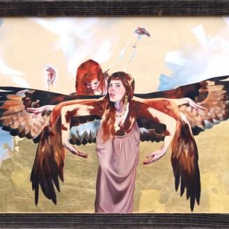 """Golden Eagle Goddess Oil, 24k gold, and metal leaf on panel24x36""""2018"""