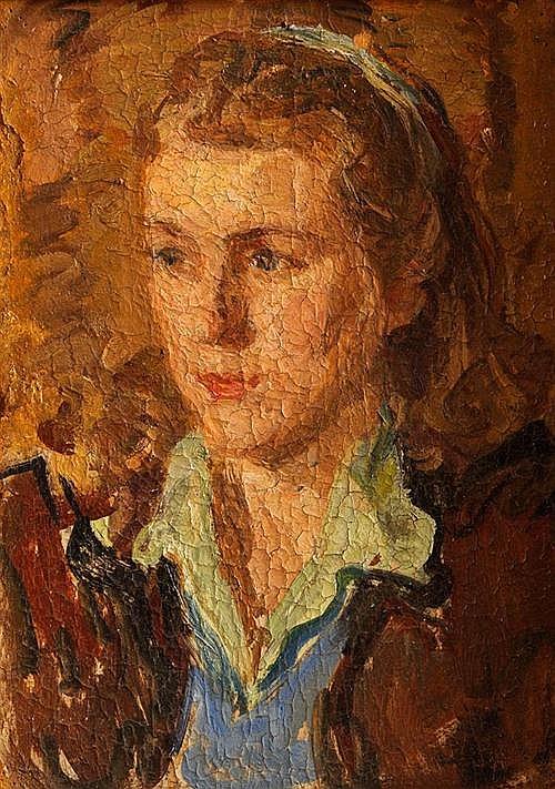 Portrait of a girl oil on board