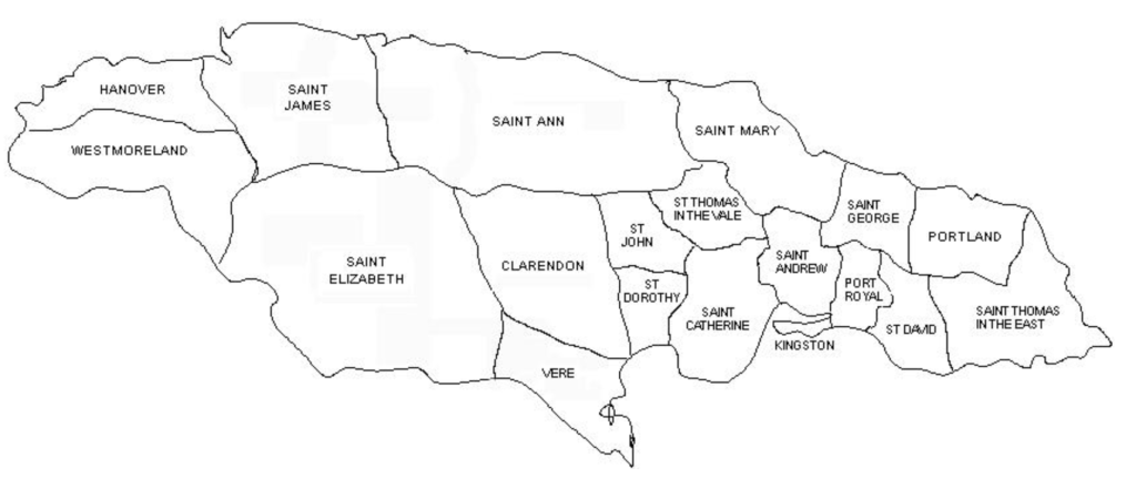 Parishes in Jamaica 1723-1769 when Charles Blair (b 1743) inherited slaves and plantations