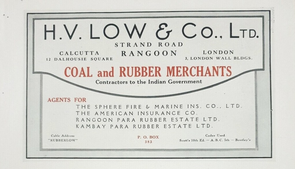 HV Low and Co Rangoon