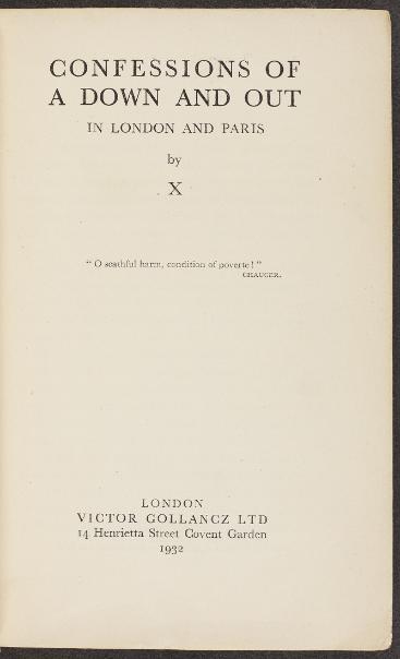 The proof copy of Down and Out in London (1932)