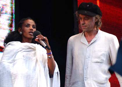 Bob Geldof and the Ethiopian girl from the Live Aid video