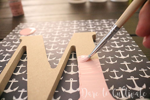 Pink Painted Wooden Initial for the DIY Bridesmaid Box