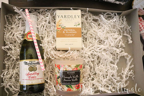 Bridesmaid Box with Martinelli's Sparkling Cider, Yardley's Soap and Resort Pineapple Vanilla Candle