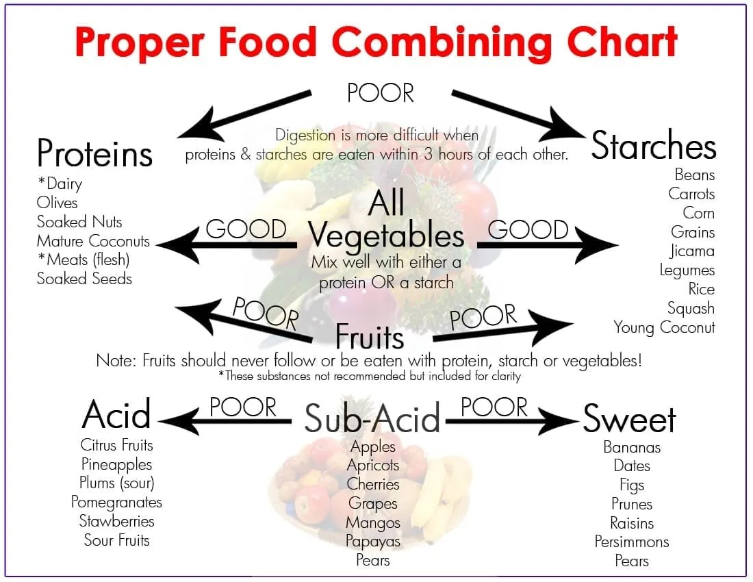 photograph relating to Food Combining Chart Printable named Meals Combining for Intestine Exercise Bodyweight Reduction - JULIA LOGGINS