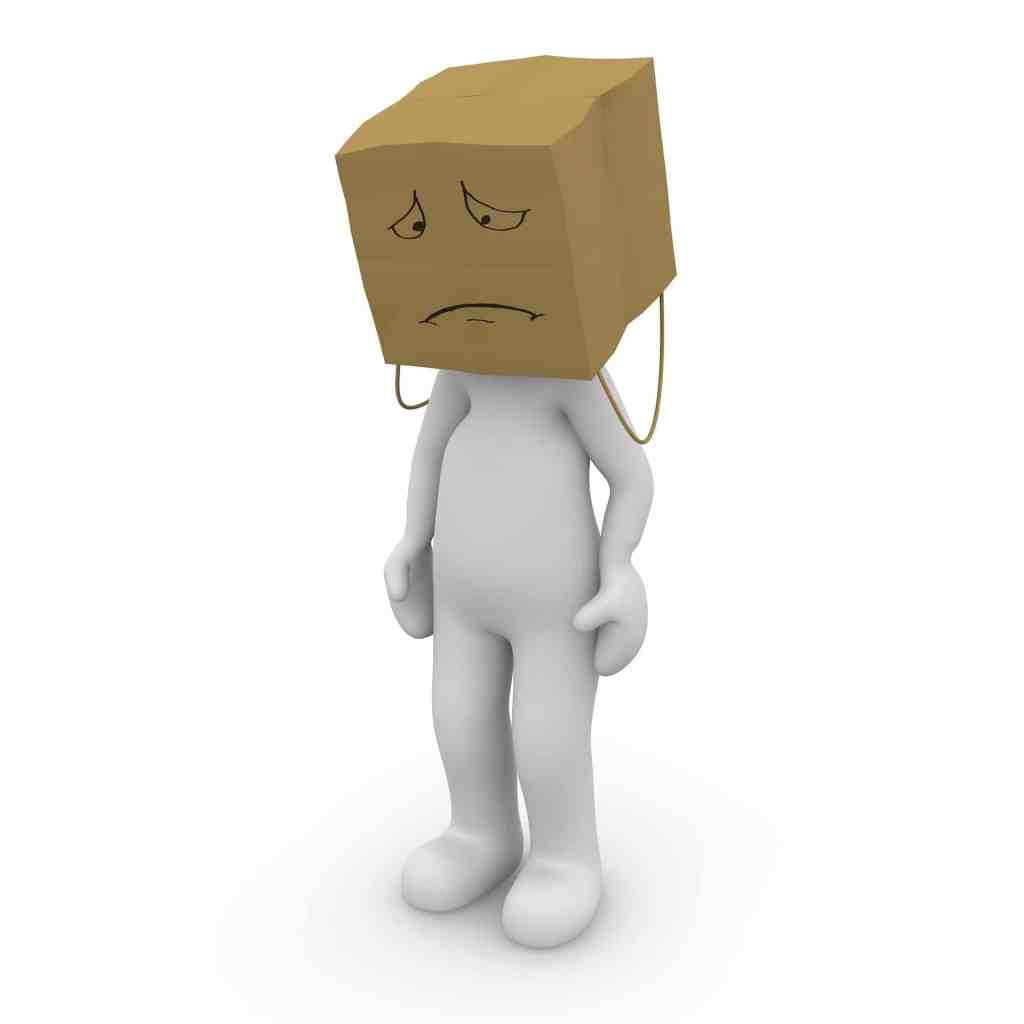 A cartoon figure with a paper bag over its head, with a sad or ashamed face drawn on the bag