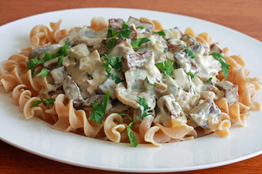 vegetarian stroganoff recipe tofu mushrooms creamy
