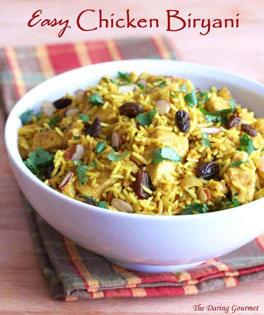 chicken biryani recipe easy Indian fast curry raisins almonds rice basmati simple Uncle Ben's