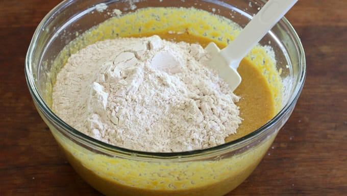 Chocolate Butterscotch Pumpkin Streusel Cake prep 5