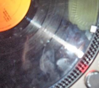 giradischi con disco e punto cue adesivo marker