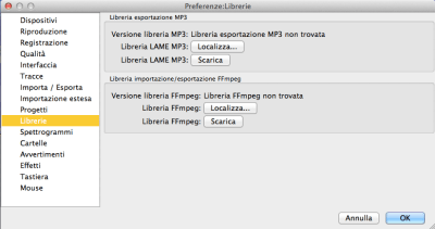 preferenze libreria lame mp3
