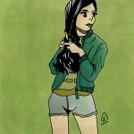 Illustration jeune fille fond vert