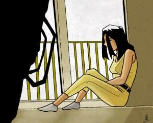 illustration jeune fille habillée en jaune