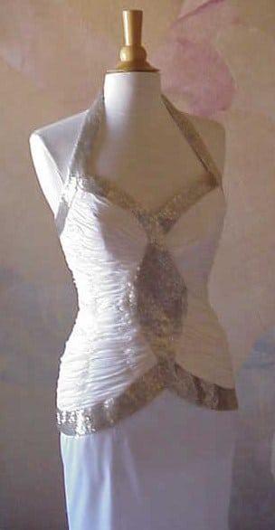 Design Avondjurken.Witte Halter Avondjurken Darius Cordell Fashion Ltd