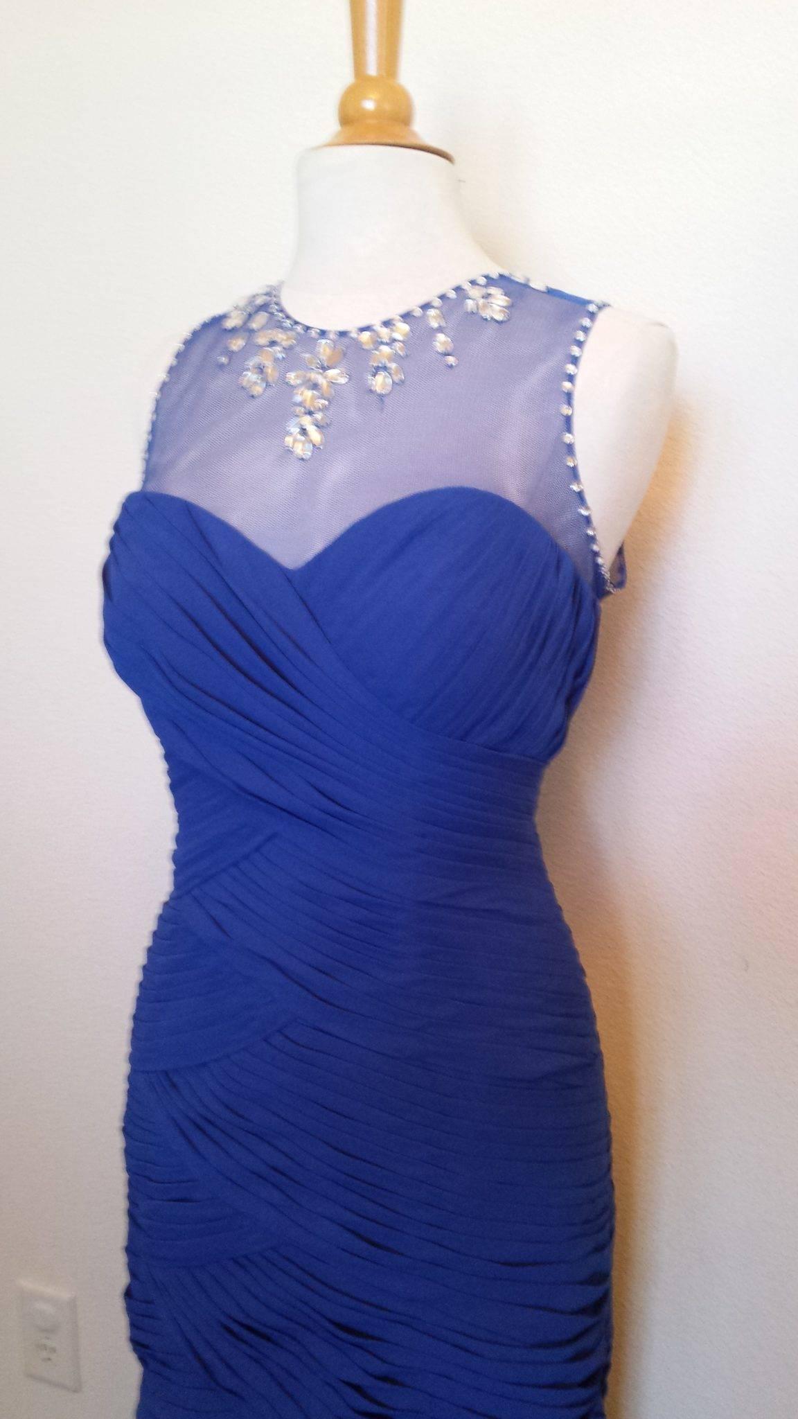 2e1986c6762 Blue Illusion Neckline Ruched Evening Dress - Darius Cordell Fashion Ltd