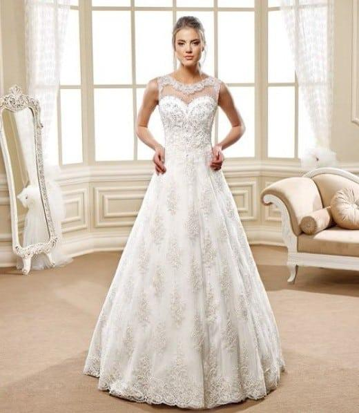 Aline Wedding Gown: Style 5469 Sleeveless Aline Wedding Gown With Illusion