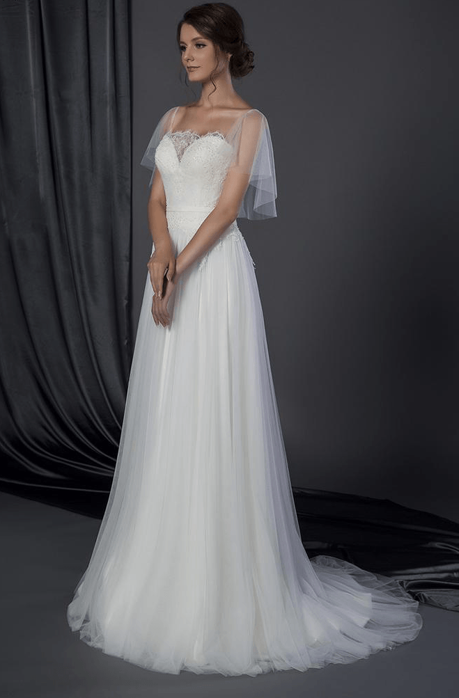 Wedding Dress Cover Up.Style 50150036 Bridal Dress With Flutter Sleeve Cover Up