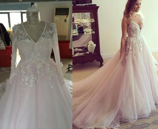 Custom plus size wedding dress inspired by a Hayley Paige design
