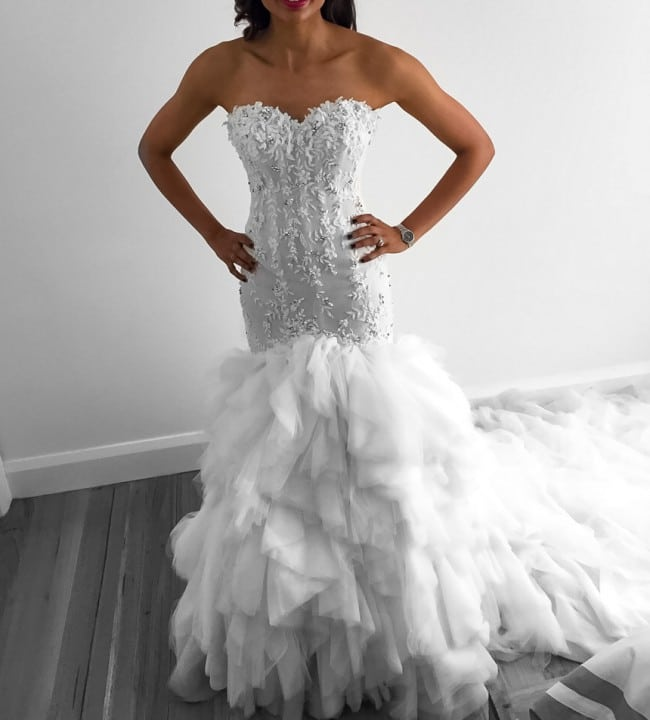 Real Brides Fit And Flare: Strapless Fit-n-flare Wedding Gown From Darius Bridal