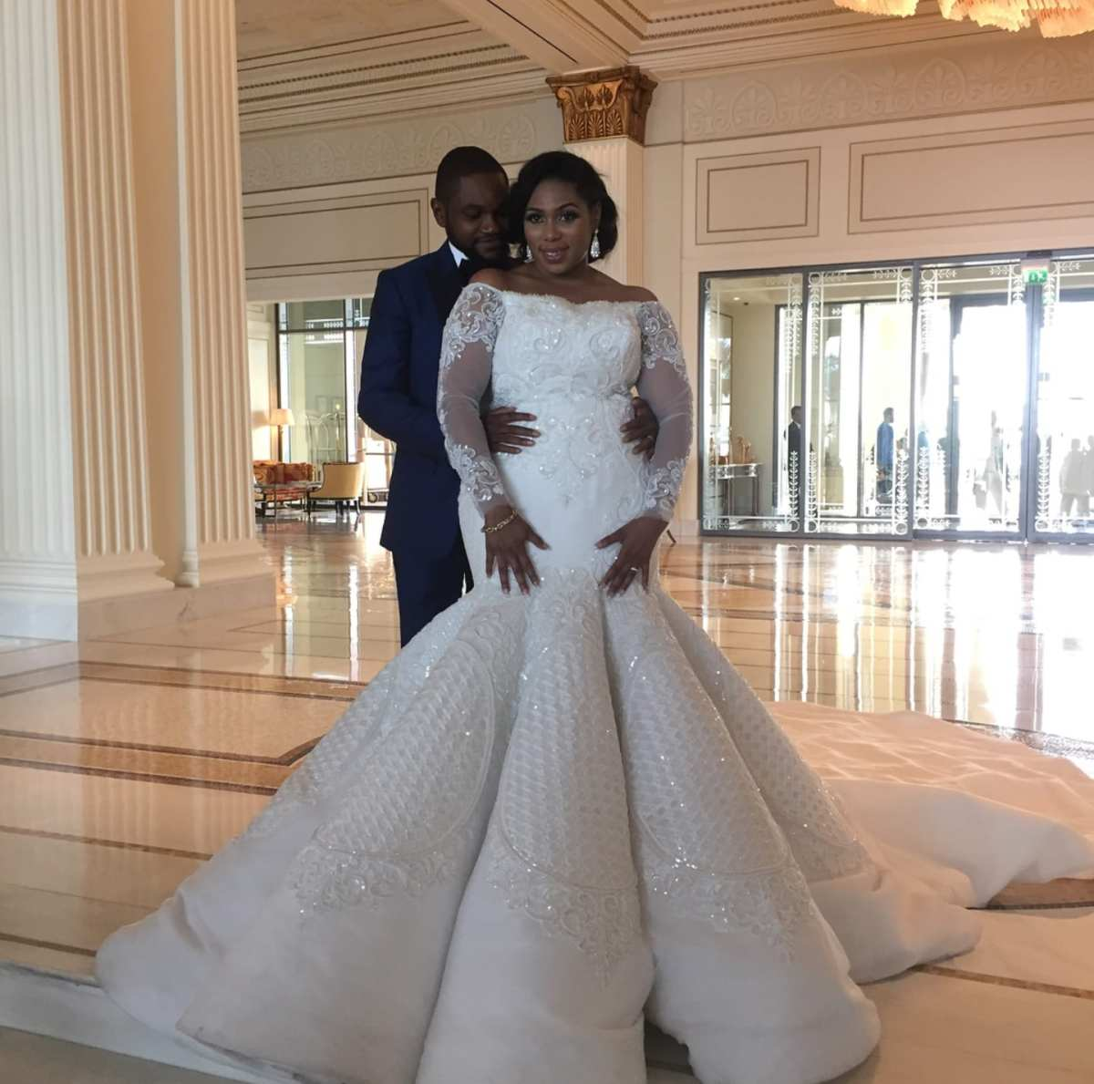 Long sleeve plus size fit-and-flare wedding dress – DARIUS ...