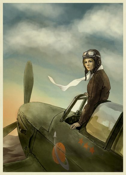 ARTWORK, AELITA, AELYA MAKAROVA, CHARACTER, SPARROW SQUADRON, AELITA'S WAR, YA HISTORICAL FICTION, NOVEL, HISTORY, BOOK, ACTION ADVENTURE, DL JUNG, DARIUS JUNG, WW2, YAK-1, SOVIET UNION, AVIATION