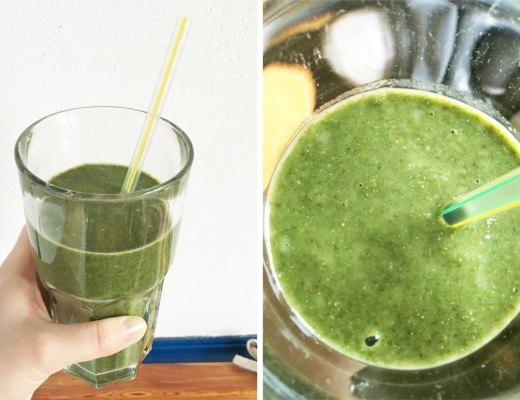 Grüner Smoothie mit Blattspinat und Obst. Rezeptbild