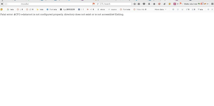 Fatal error:$CFG->dataroot is not configured properly, directory does not exist or is not accessible!